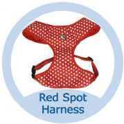 Soft Cotton Canvas Red Polka Dot Dog Harness - X SMALL